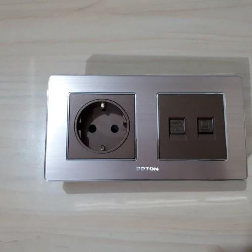 Boton Stop Kontak dan Telephone + Computer Socket K2 dark