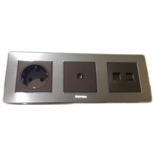 Boton Stop Kontak - TV Socket - Telephone + Computer Socket K2 dark