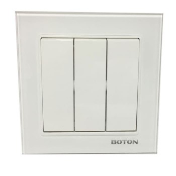 Boton Saklar Triple G9 Glass White