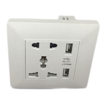 Boton 5 Pin Universal Socket With 2 USB - Q3