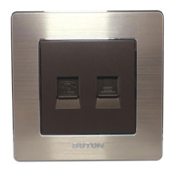 Boton Telphone Socket dan Computer Socket K2 Dark