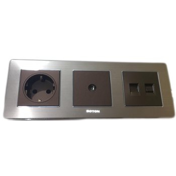 Boton Stop Kontak - TV Socket - Telephone + Computer Socket K2 dark