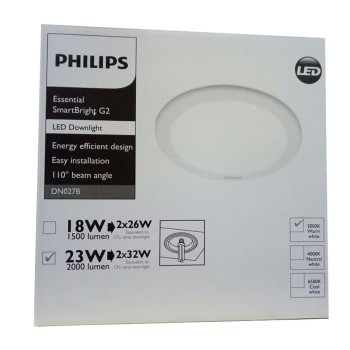 Philips SmartBright G2 LED20-WW Downlight DN027B 23W-3000K-D200