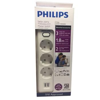 Philips Stop Kontak 3 Lubang & USB Port SPN3032A-70