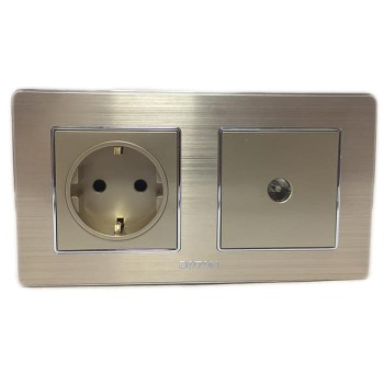 Boton Stop Kontak + TV socket K2 gold