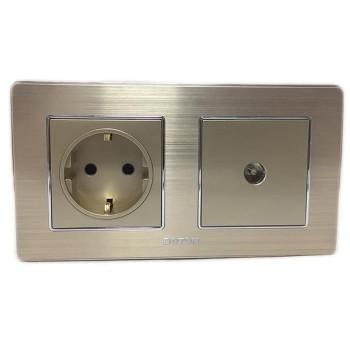 Boton Stop Kontak + TV socket K2 gold